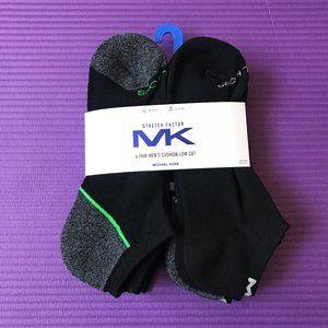 Michael Kors Men's 6 Pairs Low Cut Black Gray Sock